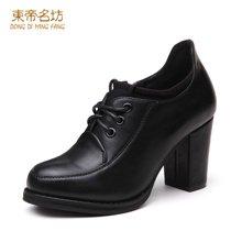 东帝名坊2018新款单鞋 粗跟高跟鞋圆头防水台系带韩版时尚女鞋 D62TH011