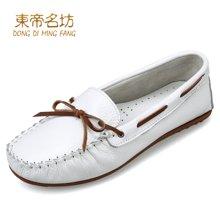 东帝名坊豆豆鞋女真皮浅口韩版单鞋女平底蝴蝶结孕妇鞋包子鞋休闲鞋 D362TH87