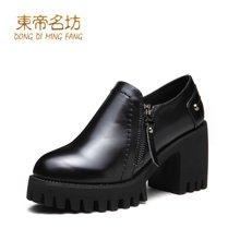 东帝名坊2017新款单鞋 时尚圆头防水台高跟鞋韩版粗跟舒适女鞋 D670TH09
