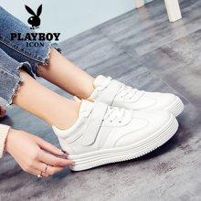 PLAYBOY/花花公子新款女士鞋高帮潮学生休闲板鞋棉鞋百搭白鞋 H7777