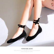 honeyGIRL新款女鞋绑带浅口单鞋女圆头芭蕾鞋百搭平底鞋TMHG17S1P20-XT031