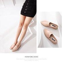 honeyGIRL新款女鞋春季韩版平跟乐福鞋圆头休闲单鞋时尚鞋子TMHG17SP12-XT014