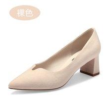 honeyGIRL韩版粗跟浅口单鞋春季新款鞋子女尖头百搭女鞋TMQHG17SP23-XT039