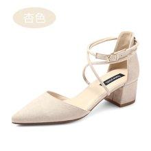 honeyGIRL尖头高跟鞋春季新款女鞋扣带粗跟鞋时尚中空单鞋女TMHG17SU15QXT139