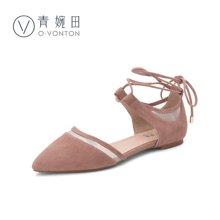 青婉田新款裸色绑带凉鞋女夏平跟文艺复古女鞋尖头真皮单鞋V17XL0531
