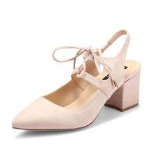 honeyGIRL2017夏季新款女鞋绑带中跟凉鞋女尖头粗跟鞋后空高跟鞋TMHG17SP423-XT120