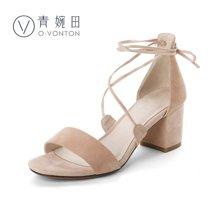 青婉田新款羊猄皮凉鞋罗马性感绑带高跟鞋粗跟一字带凉鞋女夏V17XL0498