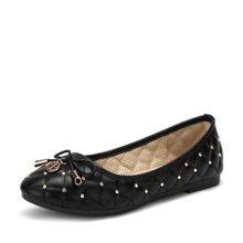 艾斯臣新款舒适柔软平底蛋卷鞋优雅圆头甜美蝴蝶结单鞋女A17120263