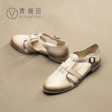 青婉田新款罗马包头凉鞋女夏平跟真皮复古镂空女鞋舒适休闲鞋V17XL0487