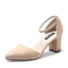 honeyGIRL春季新款女鞋一字扣尖头凉鞋中空单鞋女粗跟高跟鞋TM1HG17SP37-XT069
