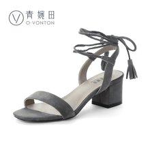 青婉田夏季女鞋凉鞋新款绑带凉鞋粗跟流苏一字带凉鞋女夏V17XL0505