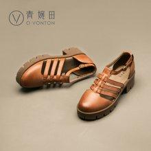 青婉田厚底包头罗马凉鞋女夏真皮镂空坡跟中跟英伦复古女鞋罗马鞋Q16XL0254