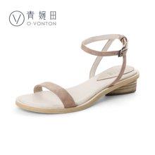 青婉田一字扣凉鞋女夏中跟露趾粗跟方跟文艺简约休闲鞋女鞋V17XL0507