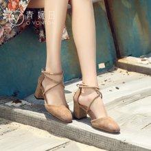 青婉田女鞋夏季新款羊猄皮交叉绑带粗跟包跟包头凉鞋女夏高跟V17XL0511