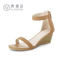 青婉田新款坡跟凉鞋简约性感一字带露趾厚底凉鞋女夏高跟真皮女鞋V17XL0500