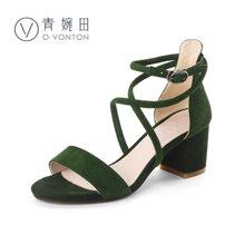 青婉田罗马凉鞋女真皮夏新款百搭粗跟高跟鞋一字带绑带女鞋子V17XL0549