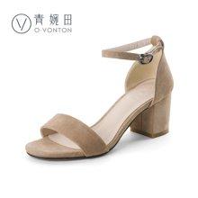 青婉田真皮凉鞋女夏季新款休闲高跟鞋粗跟百搭一字扣女鞋韩版V17XL0550