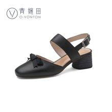 青婉田文艺包头软妹凉鞋女甜美蝴蝶结中跟真皮夏季女鞋新款V17XL0535