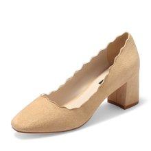 honeyGIRL新款女鞋日系方头浅口单鞋花边高跟鞋女粗跟鞋TMHG17SP113-XT006