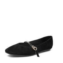 米基绒面浅口一字扣带平底单鞋女春季新款百搭方头平跟奶奶鞋NDX-13