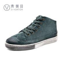 青婉田新款短靴高帮鞋女平底圆头布洛克英伦休闲鞋磨砂皮女鞋Q16DX0341