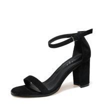 米基一字扣带凉鞋2017夏季新款学生百搭韩版简约中跟粗跟高跟女鞋LX-34