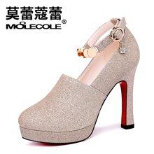 莫蕾蔻蕾2018女鞋子粗跟高跟鞋新款百搭防水台单鞋女欧美时尚女鞋 72326