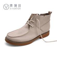 青婉田新款小皮靴短靴女文艺复古女靴手工平底靴子单靴个性女鞋Q16DX0316