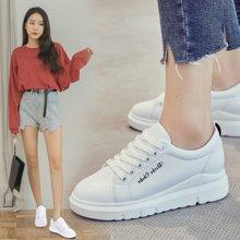 OKKO春秋季新款单鞋女韩版小白鞋内增高运动鞋百搭系带板鞋X316-5