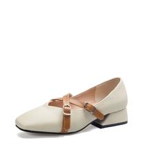 米基秋季新款单鞋女韩版浅口方头中跟粗跟复古交叉绑带奶奶鞋PX-132