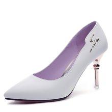 百年纪念 高跟鞋女细跟尖头单鞋女鞋子秋季2017新款性感黑色皮鞋 bn/1368