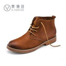 青婉田新款英伦风靴子女文艺复古马丁靴女短靴女单靴平底女鞋Q16DX0300