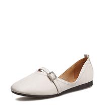 米基方头平底女鞋新款韩版百搭一字带钻扣奶奶鞋浅口套脚单鞋NDX-23