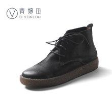 青婉田新款短靴女复古马丁靴女英伦风女靴单靴子平底小皮鞋女S17DX0574