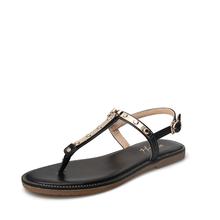米基一字扣凉鞋女平底2017夏季新款韩版平跟金属T字带夹趾罗马鞋LX-63