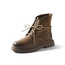 青婉田秋冬新款短靴粗跟马丁靴女英伦风女鞋学生复古女靴春秋单靴女S17DX0580