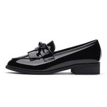 古奇天伦 2018春新款英伦风女鞋尖头平底深口单鞋漆皮中跟小皮鞋 TL/8471