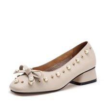艾斯臣2017秋新款低跟小皮鞋浅口单鞋女奶奶鞋甜美蝴蝶结森女风潮A17120299