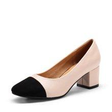 艾斯臣2017秋新款高跟鞋女粗跟单鞋百搭韩版工作鞋英伦风复古方头A17110227