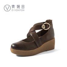 青婉田森系鞋坡跟单鞋女真皮玛丽珍鞋文艺复古女鞋厚底鞋女松糕底S18CD0719