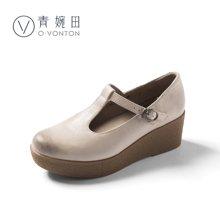 青婉田春季女鞋新款文艺复古玛丽珍鞋女 真皮厚底坡跟单鞋女S18CD0697