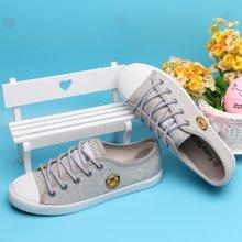 SMILEYWORLD新款 韩版系带 圆绳 低帮休闲帆布鞋女鞋 YAH202