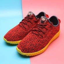 100KM猩猩猴 新款 平底网面透气飞织绑带休闲运动低帮女鞋KWJ101