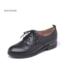 Daphne/达芙妮16秋新品低跟深口系带牛皮女单鞋