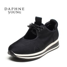 Daphne/达芙妮新款时尚运动校园风系带厚底女单鞋布鞋