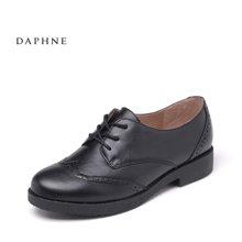Daphne/达芙妮秋新款小皮鞋布洛克低跟深口舒适女单鞋
