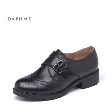 Daphne/达芙妮2016秋季新品英伦环扣厚底深口低跟单鞋
