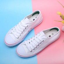100KM&PF夏季学生彩色条纹边纯色韩版休闲帆布女鞋KCH236