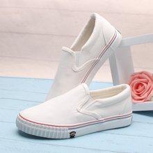 100KM&PF夏季新款简约休闲纯色韩版学生套脚纯色帆布女鞋KCH239