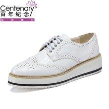 百年纪念 新款厚底女鞋松糕鞋系带休闲布洛克大码增高 bn/1074